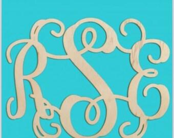 18 inch wooden 3 letter monogram