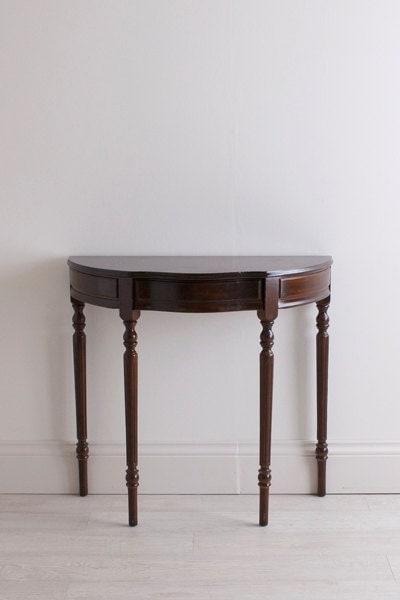 Antique mahogany demi lune console table haute juice - Table haute console ...