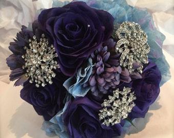 blue hydrangea and rose bouquet/brooch bouquet/silk brooch bouquet