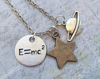 E=mc2 Science Necklace, Special Relativity Jewelry, Science Jewelry, Einstein Jewelry, Nerd Jewelry, Energy & Mass Jewelry, Physics Jewelry