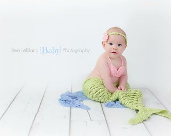 Mermaid Tail and Bikini Top Set - Available in Sizes Newborn-12 Months - Little Mermaid Prop Set - Mermaid Tail, Top and Headband Set