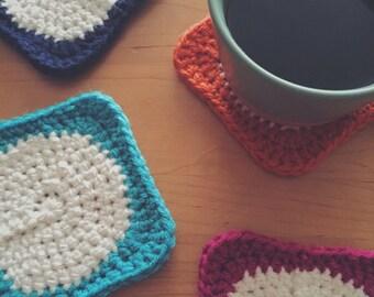 CHOOSE ANY 4   Crochet Circle-Square Coasters   Trivets   Mix & Match