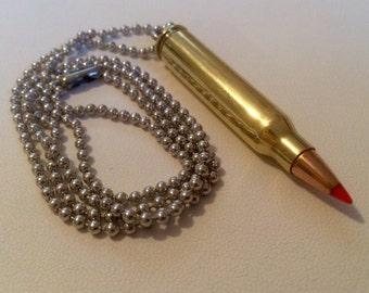 5.56mm - .223 Neckalce - Keychain Pendant - Bullet Zipper Puller - ALL IN ONE! Very Handy! Handmade, One Of A Kind
