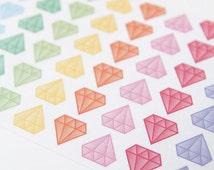 48 matte pastel diamond stickers, life planner stickers, scrapbook sticker, reminder checklist sticker, diamond label, geometric sticker