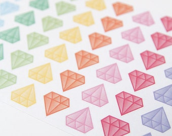 48 pastel diamond stickers, planner stickers, diamond label, geometric sticker eclp filofax happy planner kikkik