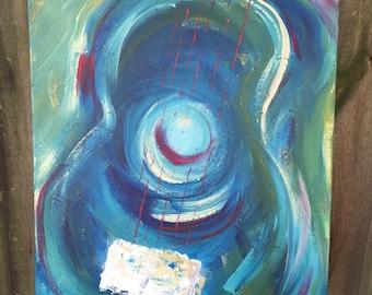 "Gee-tar, Nashville Guitar in blue 16"" x 20"" by SerindipityArt"