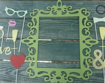 Customized Two Sided Photo Booth Frame and Props (engagement, bridal, wedding, anniversary)