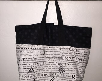 Reusable shopping bag, reversible shopping tote, washable grocery bag