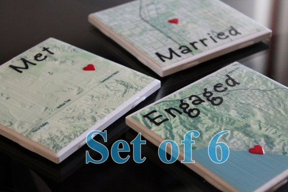 Wedding Anniversary Gifts Online Usa : Wedding, Anniversary Gift, Personalized Tile Map Drink Coasters (set ...