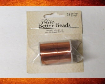 Wire - Metallic Copper Colored 28 Gauge Beading Wire. 24 yard spool for jewelry making and crafts. #WIRE-002