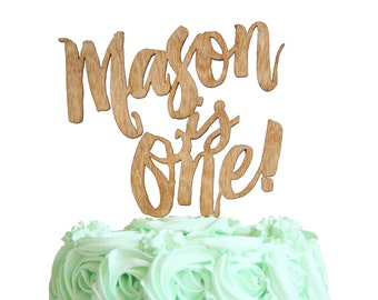 Kids Birthday Custom Name Cake Topper Rustic Wood Style, or Gold, Silver, Black, or White, Modern Brush Font