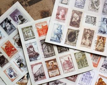 Vintage stamp stickers, Travel Planner postage stamps/ Scrapbook travel stickers set
