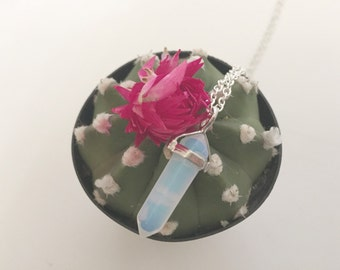 Opalite ( Opal ) Crystal Necklace w/ Silver Bail