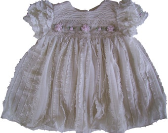 Ivory Ruffles and Pink Roses Baby Dress