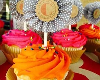 Grey/Coral/Kraft Brown Cupcake Toppers