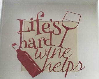 Paper cutting template - Wine helps (COMMERCIAL USE)