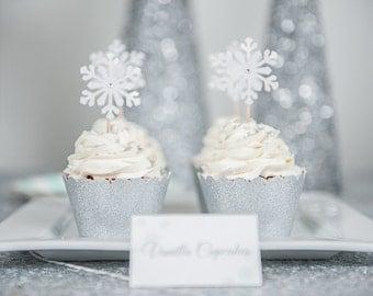 12 White Shimmer Snowflake Cupcake Toppers - Winter Wonderland Party Decor - Frozen Party Decor - Snowflake Food Picks