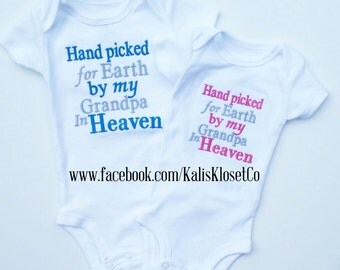 Hand Picked For Earth by my Grandpa in Heaven Shirt Personalized Embroidered Grandpa Shirt Grandma Shirt My Angel