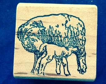 Ewe and Lamb Rubber Stamp