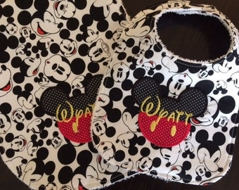 Micky Mouse inspired applique and embroidery bib, burp cloth and taggie