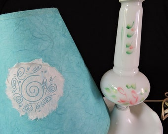 Shabby Chic Floral Painted Milk Glass Lamp with Turquoise Lamp Shade
