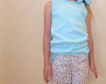 Girls Shorts with Scalloped Hem Bicycles Fabric