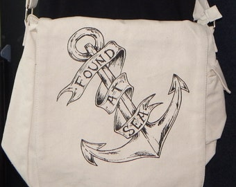 Canvas Messenger Bag, Orginal Art, Found At Sea