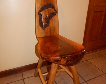 Black Walnut Chair with Dolphin Design