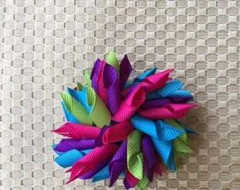 Multicolor hair clip, baby hair clip, korker bow, hairbow, colorful hair accessory