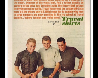 "Vintage Print Ad May 1962 : Career CLub Truval Shirts Fashion Slot Cars Clothing Wall Art Decor 8.5"" x 11"" Advertisement"