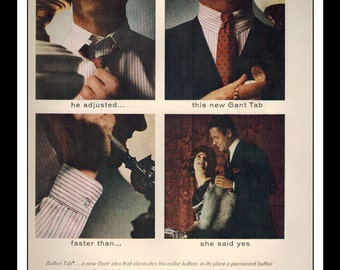 "Vintage Print Ad September 1962 : Gant Shirtmakers Fashion Clothing Wall Art Decor 8.5"" x 11"" Advertisement"