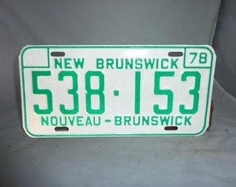 Vintage 1978 New Brunswick Canada License Plate Unused