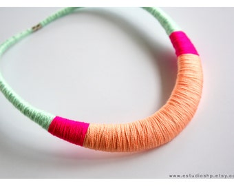Peach and mint handwrapped statement necklace