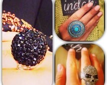 Silver imitation skull, black ball swarovski style  or large round blue and silver variety of rings