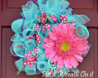 The Big Pink Flower Wreath CLEARANCE 25.00!!