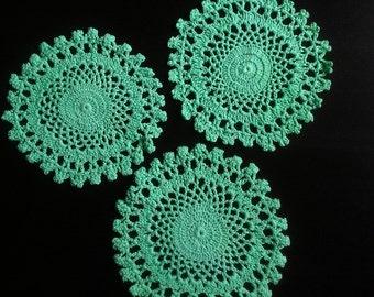 crochet doily, table decoration, center PIECE, DOILY, CROCHET, turcuoise,  Set  of  3  doilies