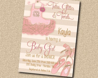 Tutu Baby Shower Invitation printable/digital, pink, gold, dance, tutu excited, girl, blush, glitter/Digital File/wording can be changed