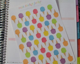 Ice Cream Stickers Ice Cream Cone Stickers Ice Cream Stickers for Erin Condren Life Planner Plum Paper Planner