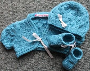 Handknitted, Merino, Bolero, Shoes, Hat, 3 months, Aqua, Blue, New Zealand, Baby, Girl  **SALE**