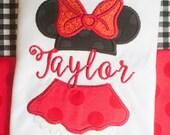 Minnie Mouse Dress~Disney Shirt~Minnie Birthday~Disney Vacation~Girls Applique Monogrammed Shirt