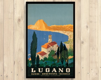 Switzerland Travel Poster - Vintage Travel Print Switzerland Poster Lugano Dorm Poster Retro Travel Poster Vintage   Reproduction