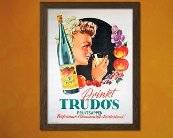 Drink Trudos Advertising Print - Food Drinks Retro Advertising Design Art Print Quality Home Wall Decor   Reproductiont