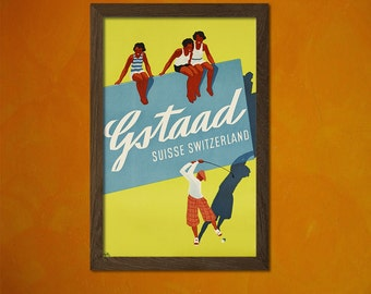 Gstaad Switzerland Poster 1921 - Vintage Tourism Travel Poster Advertising Retro Wall Decor Office decoration  t