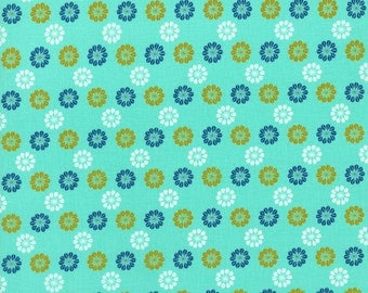 Aqua Floral Fabric - Cotton and Steel Fabric by Melody Miller - Teal Flower - Fabric By the Half Yard