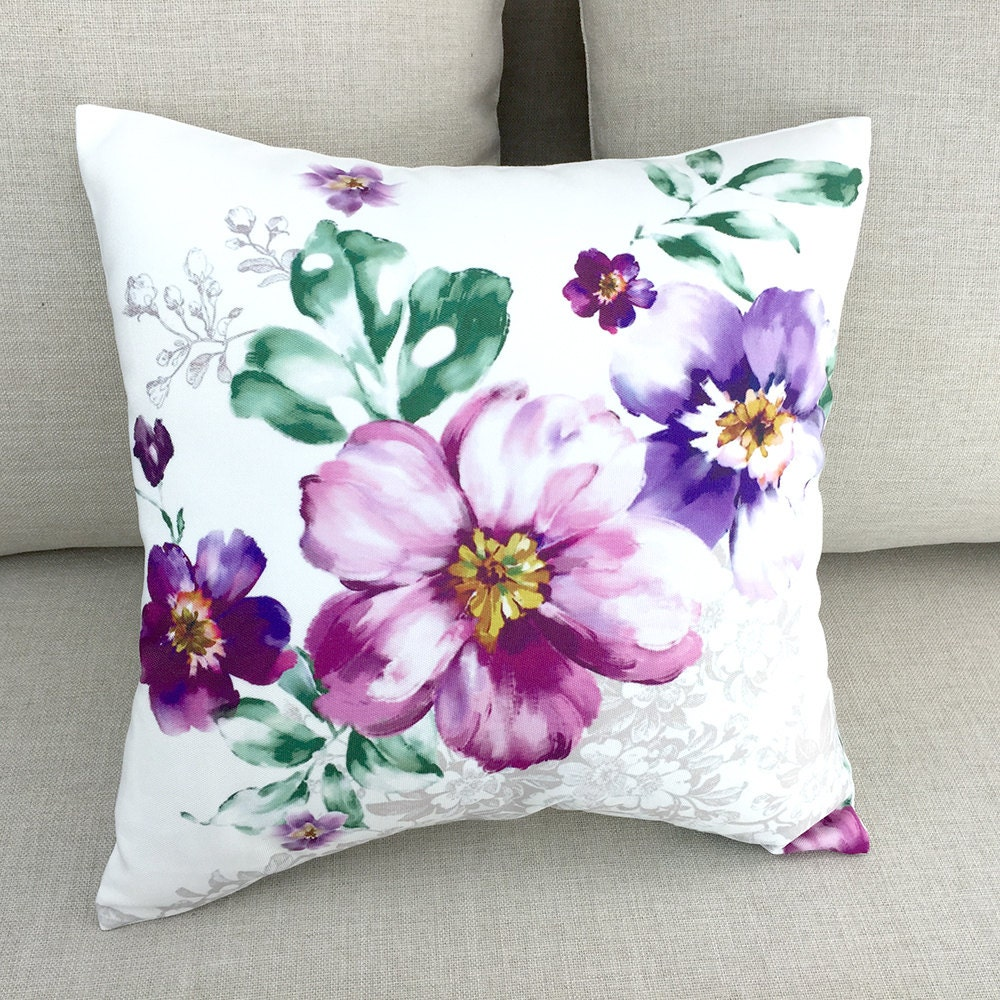 Decorative Pillows Flowers : Decorative Throw Pillows Pillow Covers Floral by HomeDecorYi