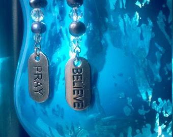 Inspirational earrings message earrings