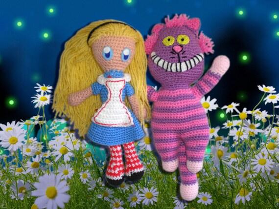 Cheshire Cat Amigurumi : Items similar to Alice in Wonderland and Cheshire cat ...