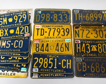 Vintage Pa License Plate Lot PA License Plates License Plate Collection Bicentennial State 1976 License Plate Old License Plate Collection