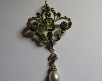 Edwardian silver paste and pearl pendant/ brooch