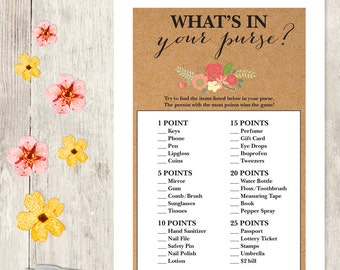 Rustic Bridal Shower Game DIY / Coral Flower on Kraft / What's In Your Purse Printable PDF / Wedding Shower ▷ Instant Download